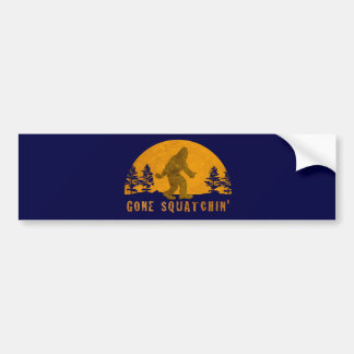 Gone Squatchin' Awesome Vintage Sunset Bumper Sticker
