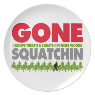 Gone Squatchin Bigfoot Hiding In Woods Plates
