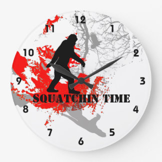 Gone Squatchin Bigfoot in the woods Large Clock
