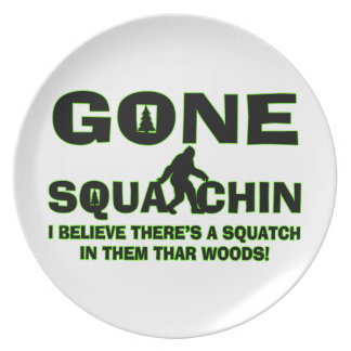 Gone Squatchin Bigfoot In Woods Party Plates