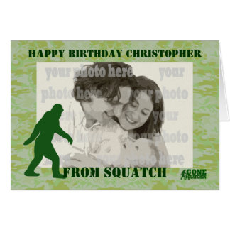 Gone squatchin bigfoot on green camo card