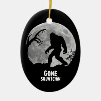 Gone Squatchin - Bigfoot silhouette with moon Ceramic Ornament