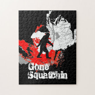 Gone Squatchin, black bigfoot Jigsaw Puzzle