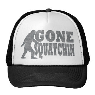 Gone squatchin black text & bigfoot trucker hat