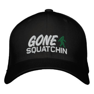 Gone Squatchin - black white and green Embroidered Baseball Cap