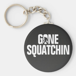 Gone Squatchin - Black / White Silhouette Basic Round Button Keychain