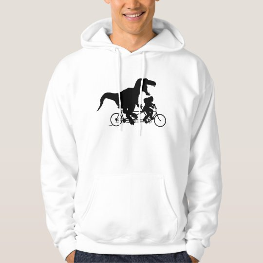 Gone Squatchin cycling with T-rex Hoodie