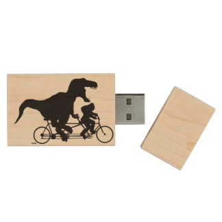 Gone Squatchin cycling with T-rex Wood USB Flash Drive