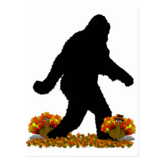 Gone Squatchin for Thanksgiving Turkey Postcard