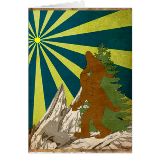 Gone Squatchin Piggy Back Squatch Squatchy Bigfoot Card