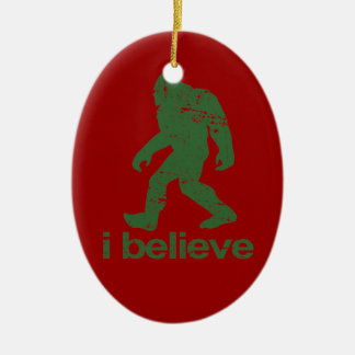 Gone Squatchin - red and green Ceramic Ornament