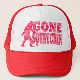 Gone squatchin red text slogan trucker hat