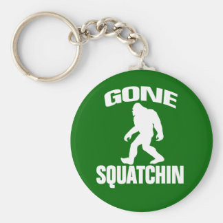 Gone Squatchin - White and Green Basic Round Button Keychain