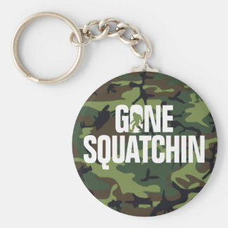 Gone Squatchin - White and Green woth Camo Basic Round Button Keychain