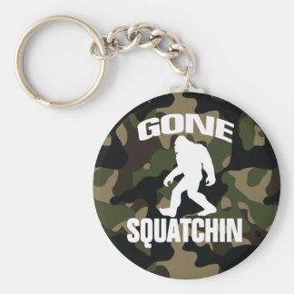 Gone Squatchin white logo with Camo Background Basic Round Button Keychain