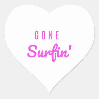 Gone Surfin' Pink Heart Sticker