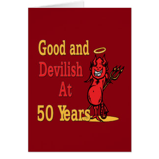 Good and Devilish 50th Birthday Note Card