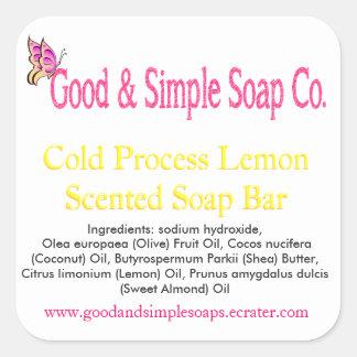 Good and Simple Soap Label Lemon Soap Square Sticker