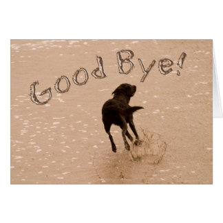 Good Bye and Farewell Dog Running on the Beach Card