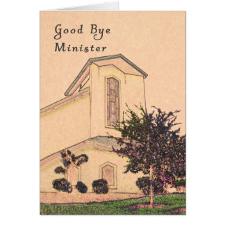 Good Bye Card for Minister with Sepia Church