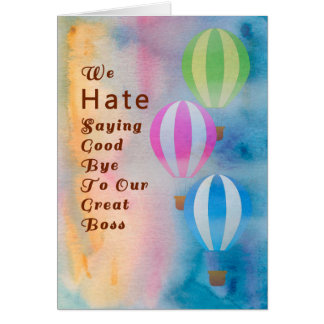 Good Bye to Boss Card, Watercolor Hot Air Balloons Card