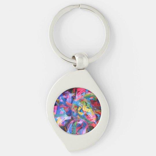Good Chaveiro luck Silver-Colored Swirl Keychain