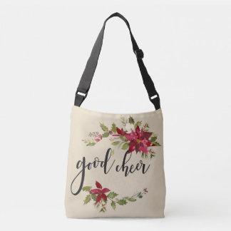 Good Cheer Poinsettias And Flower Decor Crossbody Bag