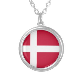 Good color Denmark flag Print Silver Plated Necklace
