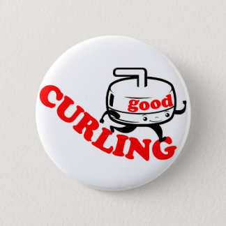 """[ GOOD CURLING ] Retro """"Stone Guy"""" Gifts by SKO 2 Inch Round Button"""