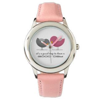 Good Day Beautiful Birds Pink Cheerful Sweet Funny Wristwatch