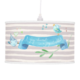 Good Day Bluebird Joy with Hand Drawn Stripes Hanging Lamp