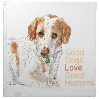 Good dogs love good humans watercolor napkin