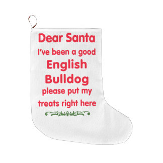 good English Bulldog Large Christmas Stocking