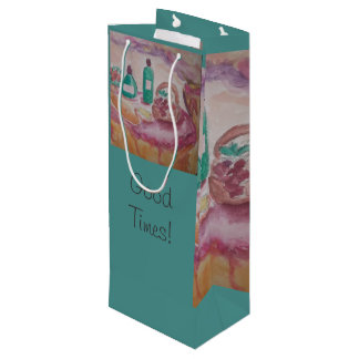 good food and good friends wine gift bag