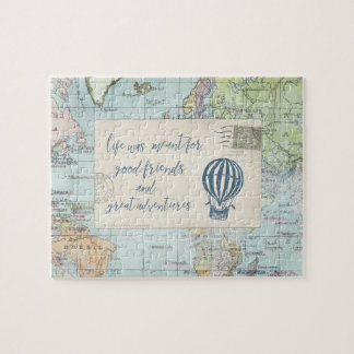 Good Friends and Great Adventures Quote Jigsaw Puzzle
