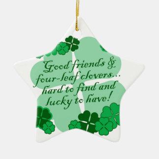 Good Friends and Shamrocks Ceramic Ornament