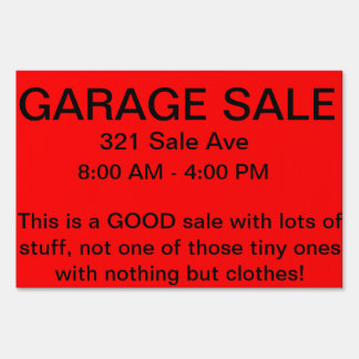 Good garage sale sign