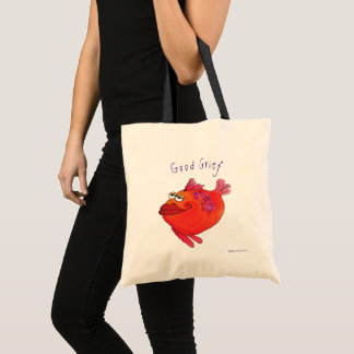 Good Grief Whimsical Fish Art Pink and Red Tote Bag