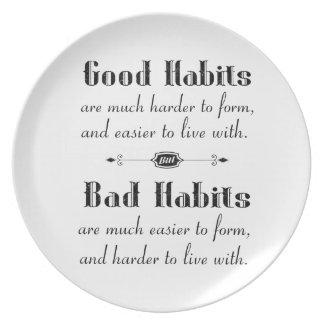 Good Habits Bad Habits Plate