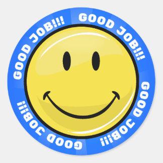 Good Job Glossy Blue Happy Face Stickers