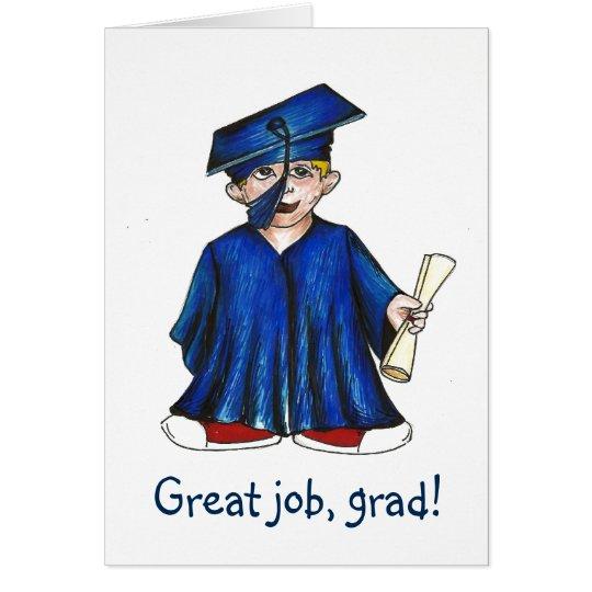 Good Job Grad Preschool Graduation Cap & Gown Card