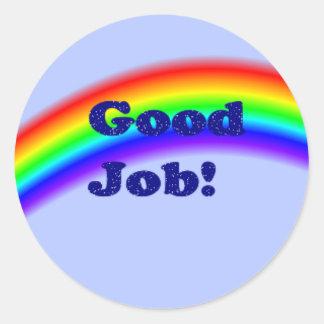 Good Job Rainbow Sticker, small Round Sticker