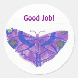 """Good job"" stickers (large) w/purple butterfy"