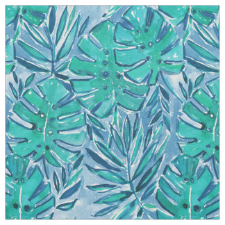 GOOD JUJU JUNGLE Green Tropical Leaves Fabric