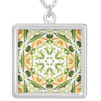 Good karma and well being from a healthy diet 3 silver plated necklace