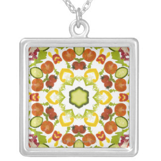 Good karma and well being from a healthy diet silver plated necklace