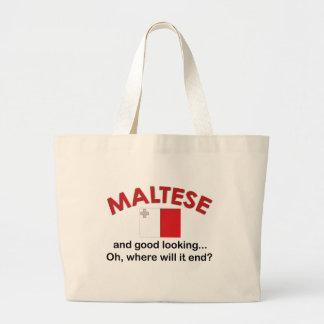 Good Looking Maltese Large Tote Bag