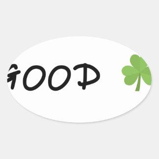 Good Luck 4 leaf clover Emoji Special one Oval Sticker