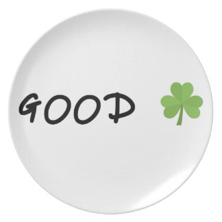Good Luck 4 leaf clover Emoji Special one Plate