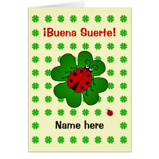 Good luck add name buena suerte card